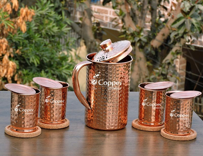 Copper Water Pitcher with matching tumblers