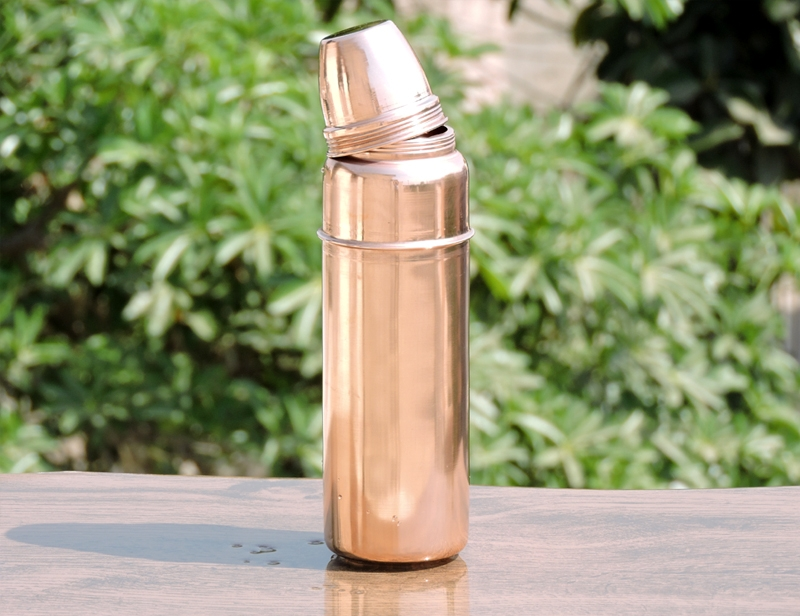 indian handmade copper thermos water bottle with lid for. Black Bedroom Furniture Sets. Home Design Ideas