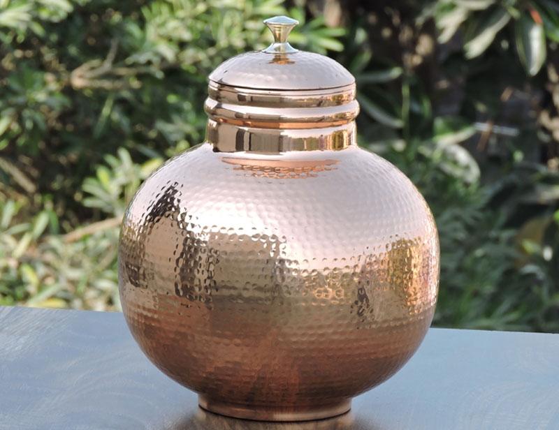 7 Liter Pure Copper Water Dispenser Hammered Matka