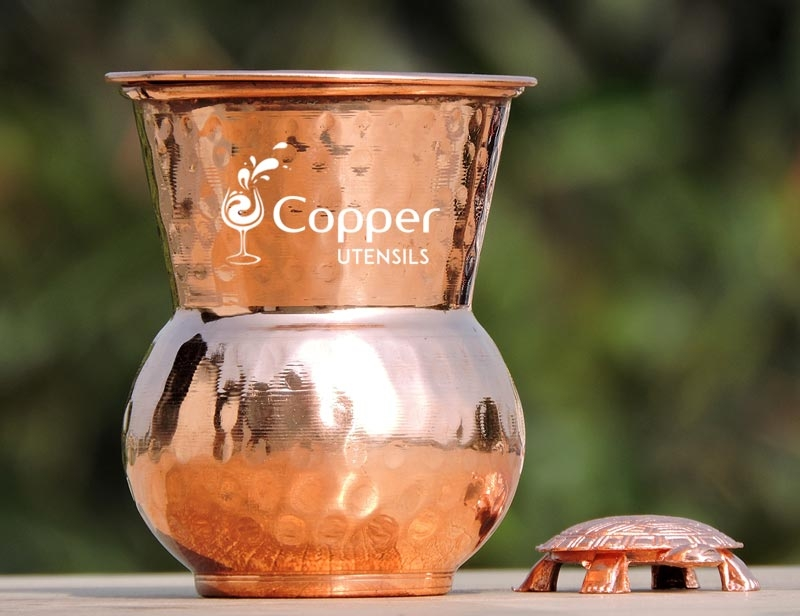 Artistic Copper Dholak Tumbler with Designer Lid for Storing and Drinking Water in Style for Health