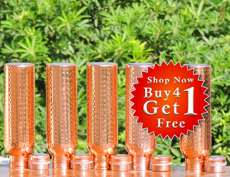 Buy 4 Hammered Pure Copper Water Bottle for Kids-Get FREE 1 Copper Water Bottle