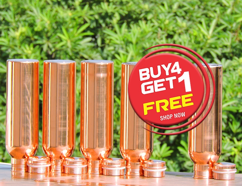 Buy 4 Pure Copper Water Bottle for Kids-Get FREE 1 Copper Water Bottle