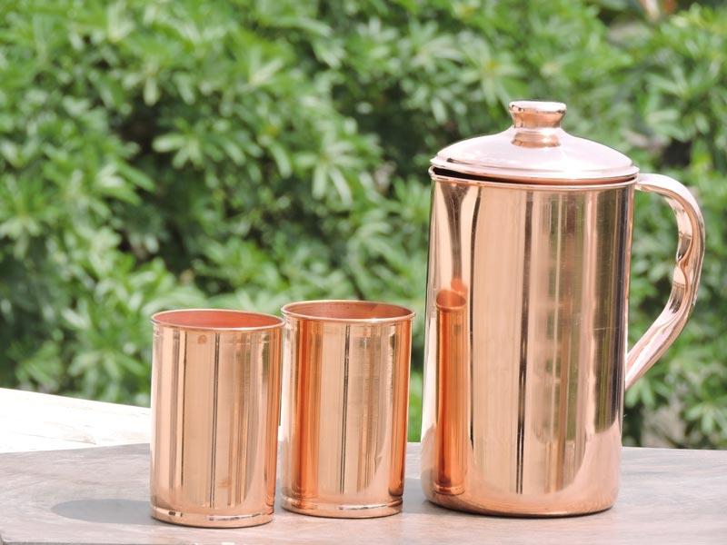 Copper Jug and 2 Glass Set
