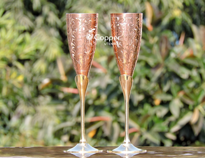 Engraved Copper Plated Brass Champagne Glass Set