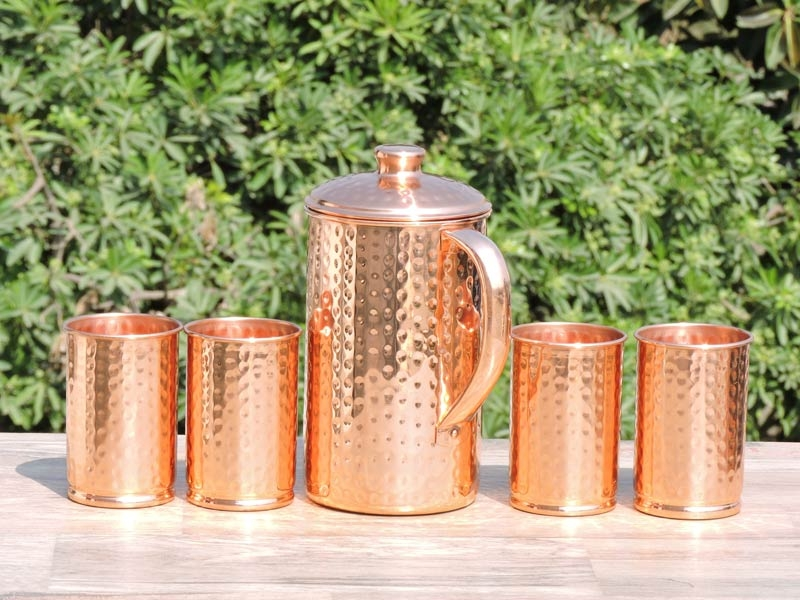 Hammered Copper Jug with Four Tumblers
