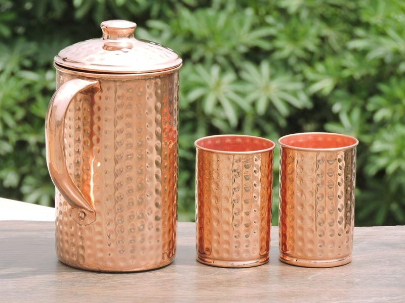 Hammered Jug And Two Hammered Tumbler Set