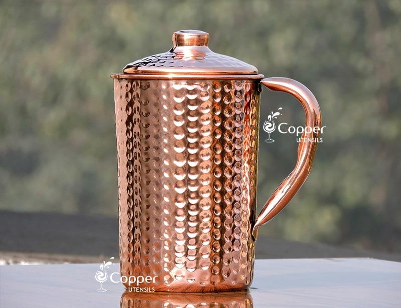 Hand Beaten Pure Copper Jug with Lid for Storing Drinking Water