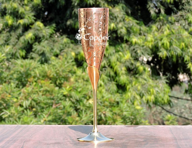 Intricately Designed Brass Champagne Glass With Copper Lining
