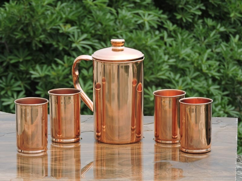 Plain Copper Jug with Four Matching Glasses