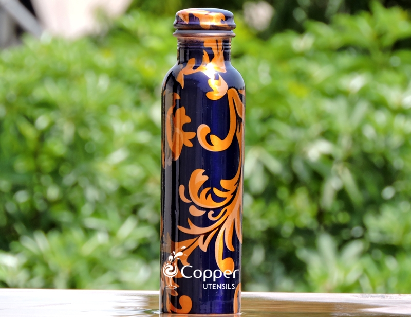 Pure Copper Designer Print Water Bottle-Blue