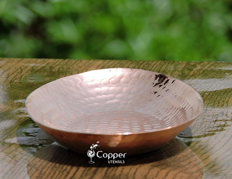 Pure Copper Hammered Oval Platter
