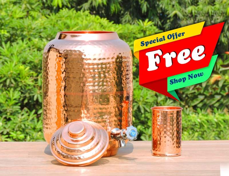 Pure Copper Seven Liter Water Dispenser -FREE One Copper Tumbler