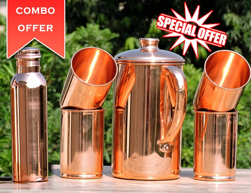 Set of Plain Copper Jug with Four Tumblers- Get FREE 600 ml Copper Water Bottle
