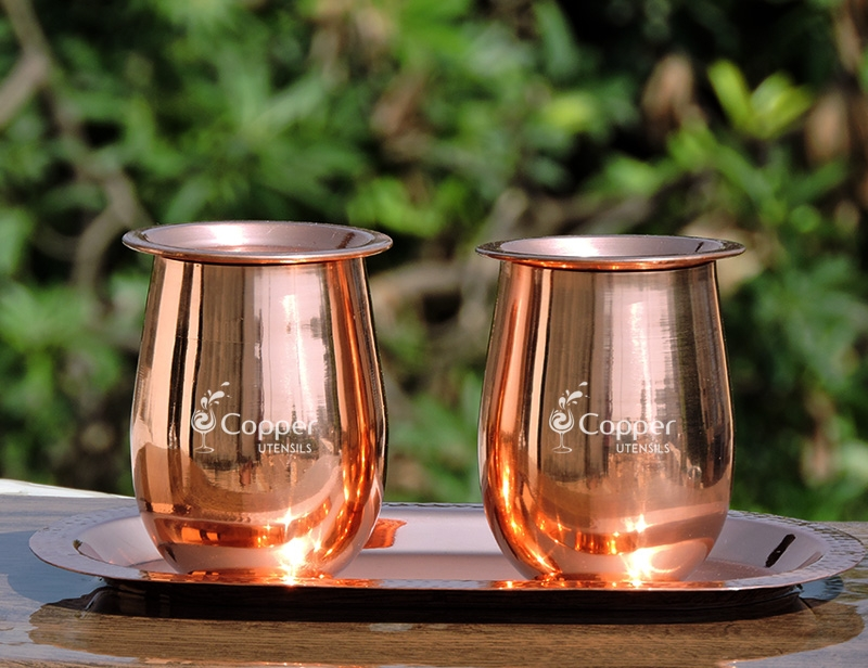 Set of Two Copper Plated Steel Glasses with Tray and Lids