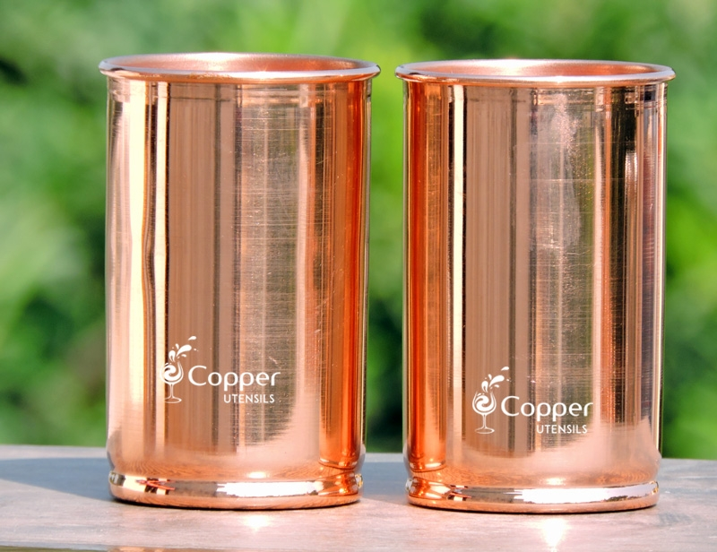 Set of Two Plain Copper Tumblers for Drinking Water