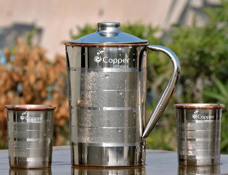 Steel Outer and Copper Inner Ayurvedic Water Jug with Two Copper Tumblers