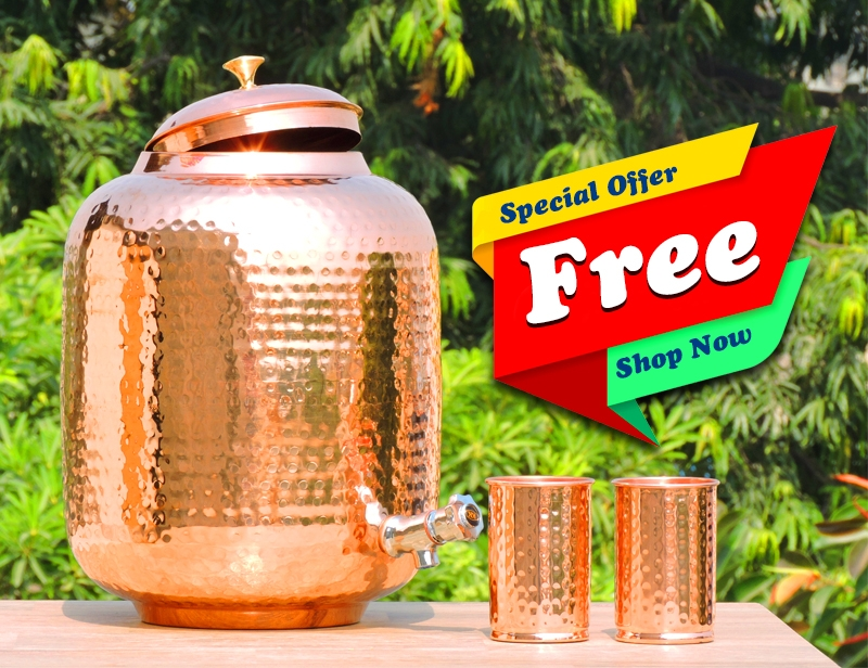 Twelve Liter Pure Copper Water Dispenser-Free Two Copper Tumbler