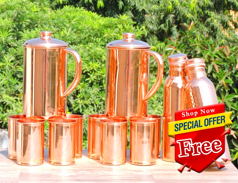 Two Plain Copper Jug with Eight Tumblers-Get 2 Copper Water Bottle 600 ml Set FREE