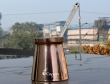 Plain Copper Turkish Coffee Maker with Brass Handle