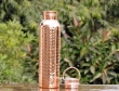 Pure Copper Hammered Bottle with Handle 600 ML
