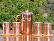 Plain Copper Jug with Four Matching Glasses and Lids