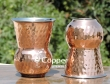 Set of Two Mughlai Style Hammered Copper and Steel Tumbler