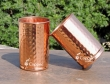 Set of Two Pure Copper Hammered Tumblers