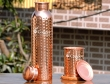 Set of hammered copper water bottle and matching copper tumbler