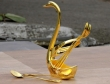 Gold Colored Swan Spoon Stand 6 Spoons and a Stand