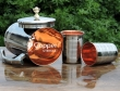 Outside Steel and inside copper Jug and 2 Tumbler set for Ayurvedic Benefits