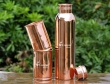 Pure Copper Plain Bottle with Two Matching Tumblers