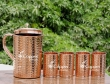 Hammered Pure Copper Pitcher and Four Tumblers Set