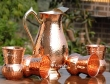 Mughlai Style Copper Jug with Four Matching Tumblers