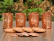 Set of Four Hand Hammered Copper Tumblers with Matching Lids