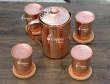 Hammered Copper Jug with Matching Glasses and Lids