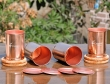 Set of Four Plain Copper Tumblers with Matching Lids