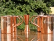 Set of Four Plain Copper Mugs with Copper Jigger