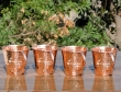 Set of Four Pure Copper Hammered Cups
