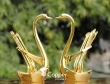 Set of Two Gold Colored Swan Spoon Stand with Six Spoons