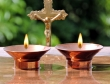 Set of Two Pure Copper Tea Light Holders