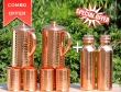 Two Hammered Copper Jug with Eight Tumblers-Get 2 Copper Water Bottle 600 ml Set FREE