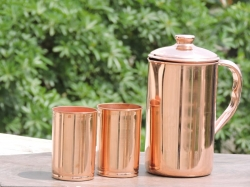 Copper Jug and 2 Glass Set for