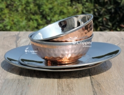Copper and Stainless Steel Finger Bowl Set