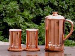 Copper Jug and 2 Glass Set for Detoxification of Body