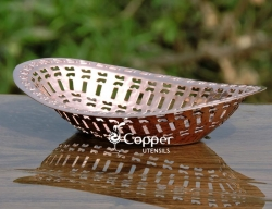 Hand Crafted Copper Hammered Chapati Holder Basket