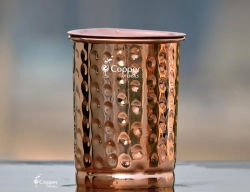 Hammered Copper Tumbler Made of Pure Copper with Lid for Storing