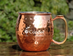 Hammered Stainless Steel Moscow Mule Mug with Copper Plated Exter