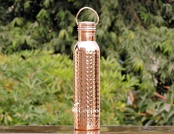Hammered Copper Water Bottle with Carrying Handle