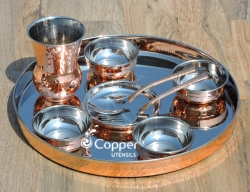 Hand Hammered Copper Thali with Assorted Accessories