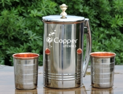 Outside Steel and inside copper Jug and 2 Tumbler set for Ayurved